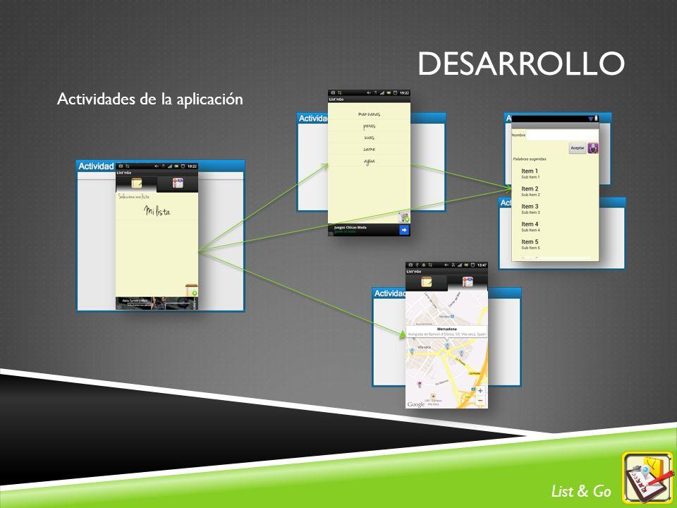 DESARROLLO Actividades de la aplicación List & Go
