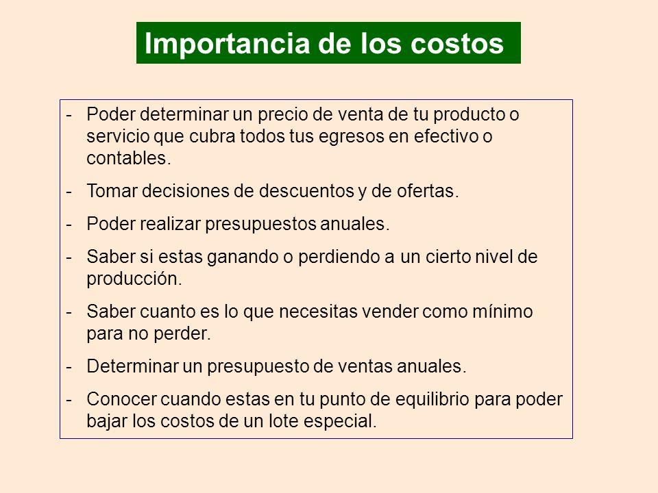 Importancia de los costos -Poder determinar un precio de venta de tu producto o servicio que cubra todos tus egresos en efectivo o contables.