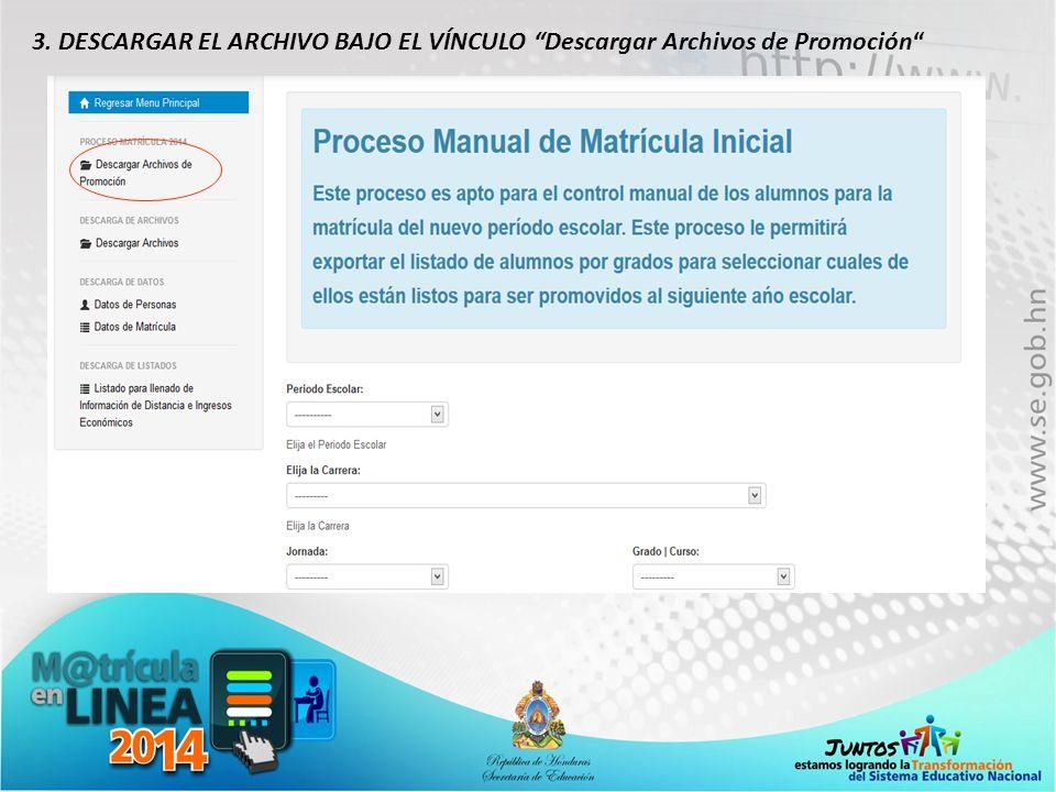 3. DESCARGAR EL ARCHIVO BAJO EL VÍNCULO Descargar Archivos de Promoción