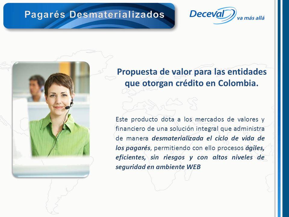 Propuesta de valor para las entidades que otorgan crédito en Colombia. Este producto dota a los mercados de valores y financiero de una solución integ