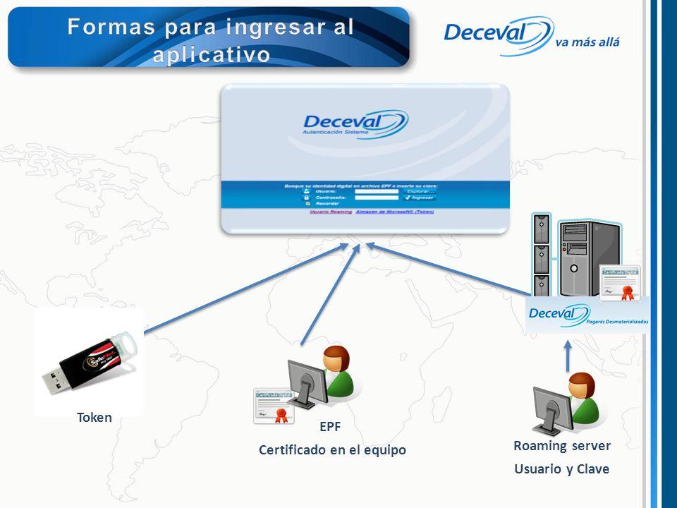 EPF Certificado en el equipo Roaming server Usuario y Clave Token