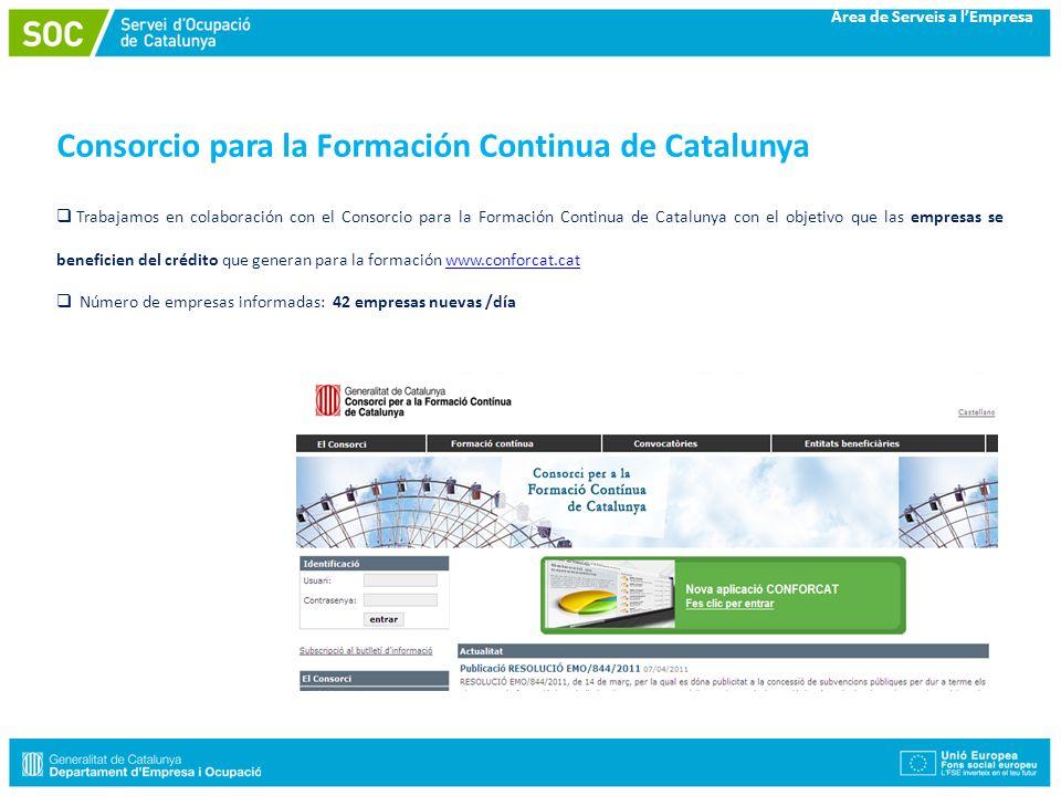 Àrea de Serveis a lEmpresa Consorcio para la Formación Continua de Catalunya Trabajamos en colaboración con el Consorcio para la Formación Continua de