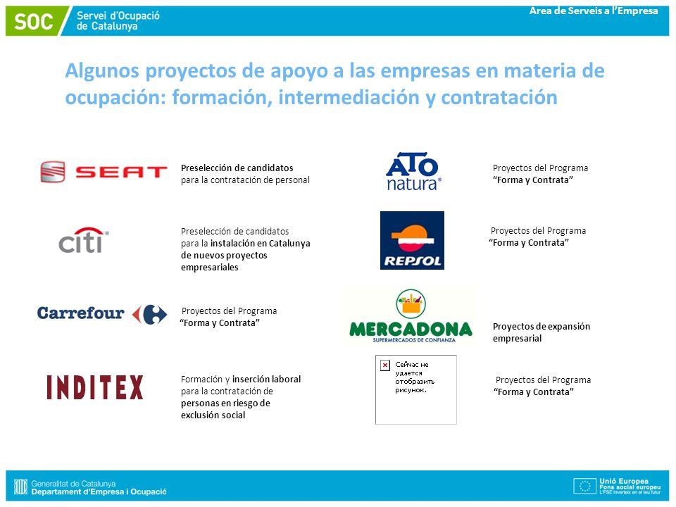 Algunos proyectos de apoyo a las empresas en materia de ocupación: formación, intermediación y contratación Proyectos de expansión empresarial Formaci