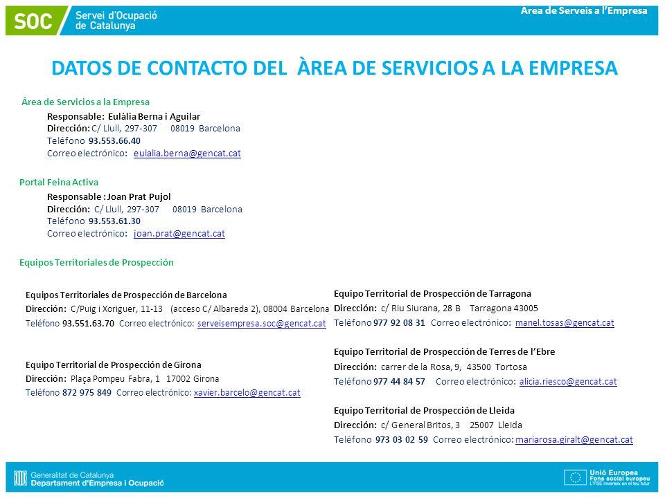 Àrea de Serveis a lEmpresa DATOS DE CONTACTO DEL ÀREA DE SERVICIOS A LA EMPRESA Área de Servicios a la Empresa Responsable: Eulàlia Berna i Aguilar Di