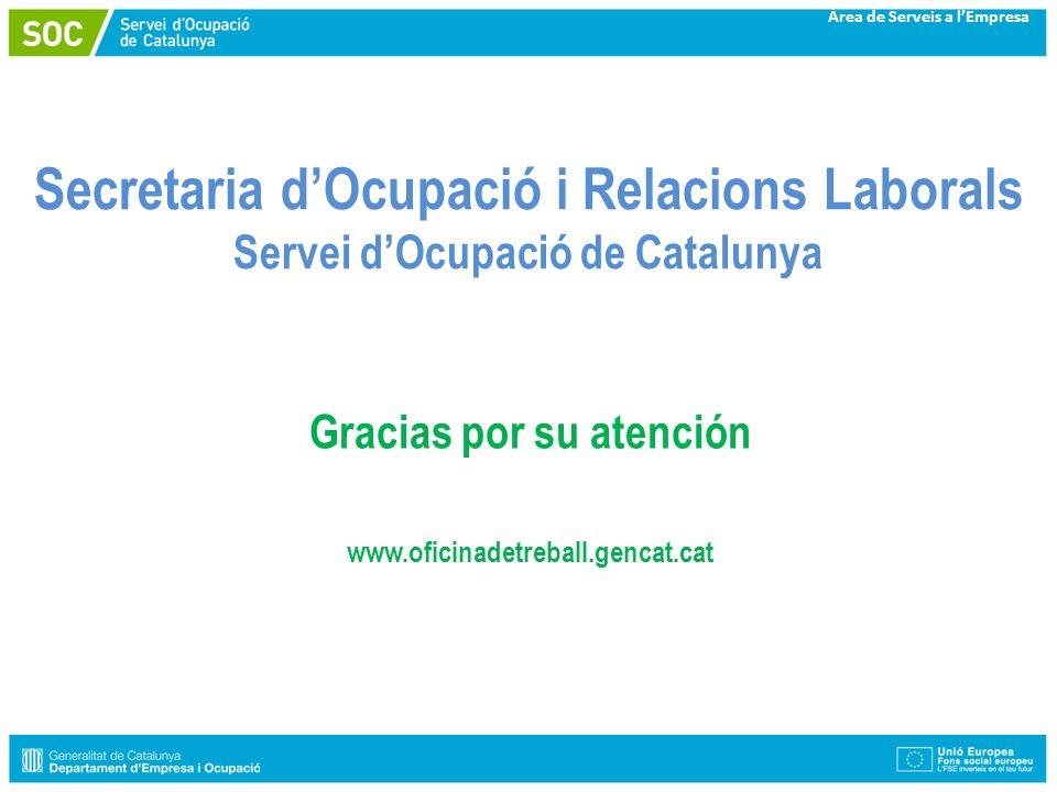 Àrea de Serveis a lEmpresa Secretaria dOcupació i Relacions Laborals Servei dOcupació de Catalunya Gracias por su atención www.oficinadetreball.gencat