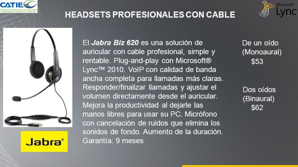 HEADSETS PROFESIONALES CON CABLE El Jabra Biz 620 es una solución de auricular con cable profesional, simple y rentable. Plug-and-play con Microsoft®
