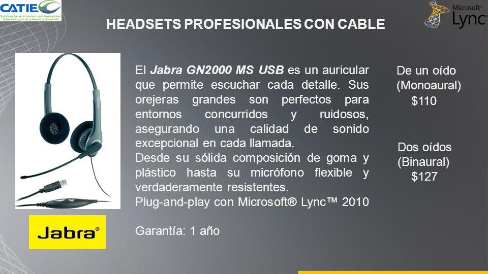 HEADSETS PROFESIONALES CON CABLE El Jabra GN2000 MS USB es un auricular que permite escuchar cada detalle. Sus orejeras grandes son perfectos para ent