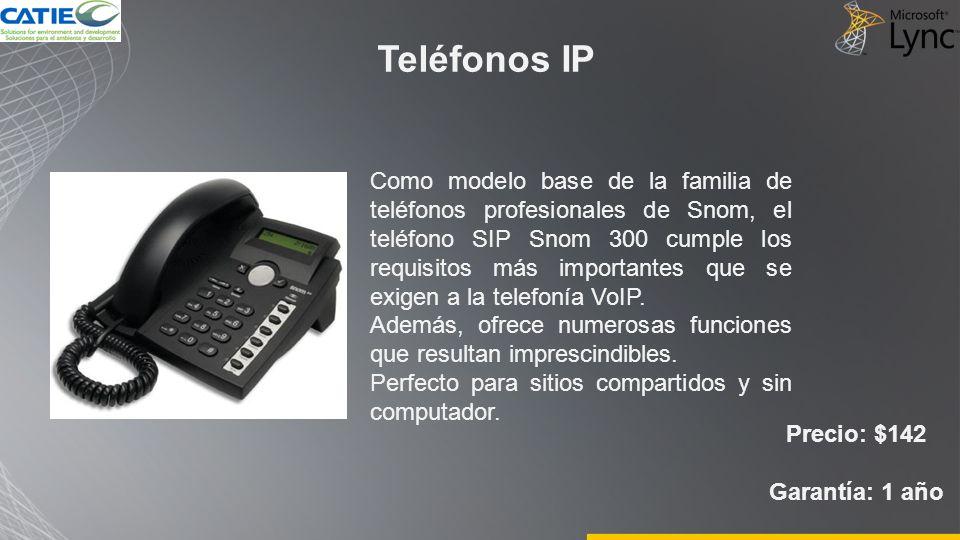 Teléfonos IP Precio: $142 Garantía: 1 año Como modelo base de la familia de teléfonos profesionales de Snom, el teléfono SIP Snom 300 cumple los requi