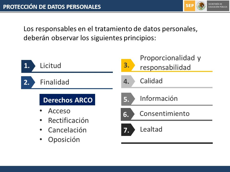 PROTECCIÓN DE DATOS PERSONALES 1. Licitud 2. Finalidad 3. Proporcionalidad y responsabilidad Calidad 4. Información 5. Consentimiento 6. Lealtad 7. Ac