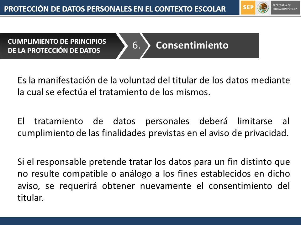 PROTECCIÓN DE DATOS PERSONALES EN EL CONTEXTO ESCOLAR 6. CUMPLIMIENTO DE PRINCIPIOS DE LA PROTECCIÓN DE DATOS Consentimiento Es la manifestación de la
