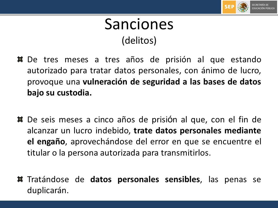 Sanciones (delitos) De tres meses a tres años de prisión al que estando autorizado para tratar datos personales, con ánimo de lucro, provoque una vuln