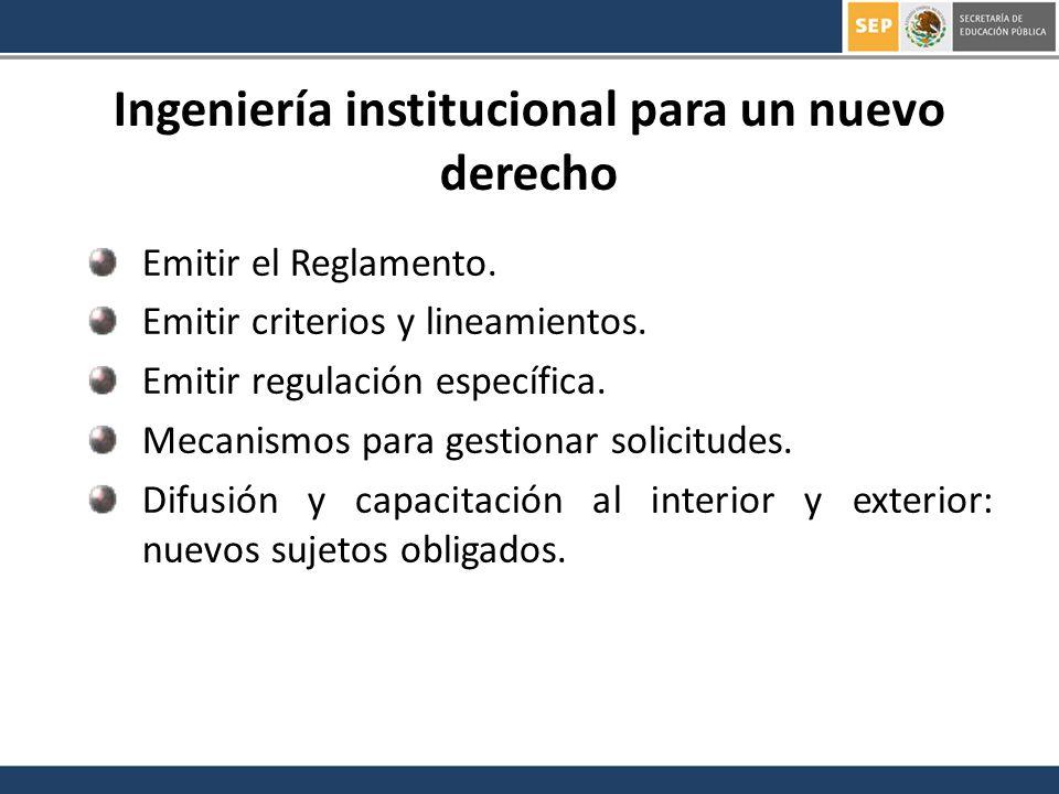 Emitir el Reglamento. Emitir criterios y lineamientos. Emitir regulación específica. Mecanismos para gestionar solicitudes. Difusión y capacitación al