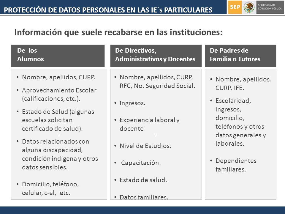 Información que suele recabarse en las instituciones: PROTECCIÓN DE DATOS PERSONALES EN LAS IE´ S PARTICULARES v De los Alumnos Nombre, apellidos, CURP.