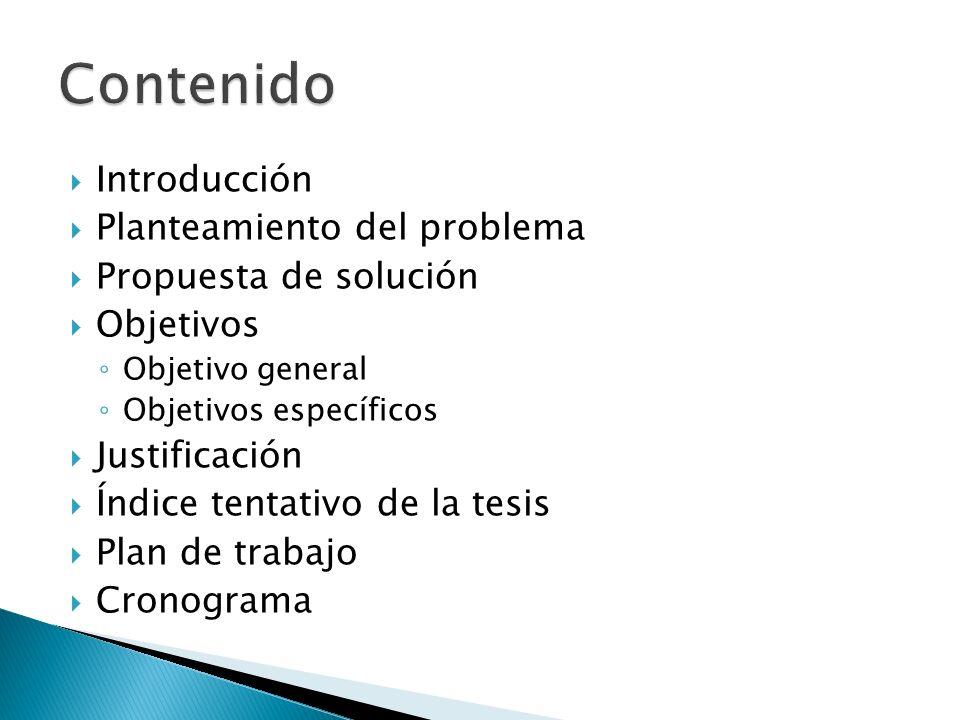Introducción Planteamiento del problema Propuesta de solución Objetivos Objetivo general Objetivos específicos Justificación Índice tentativo de la te
