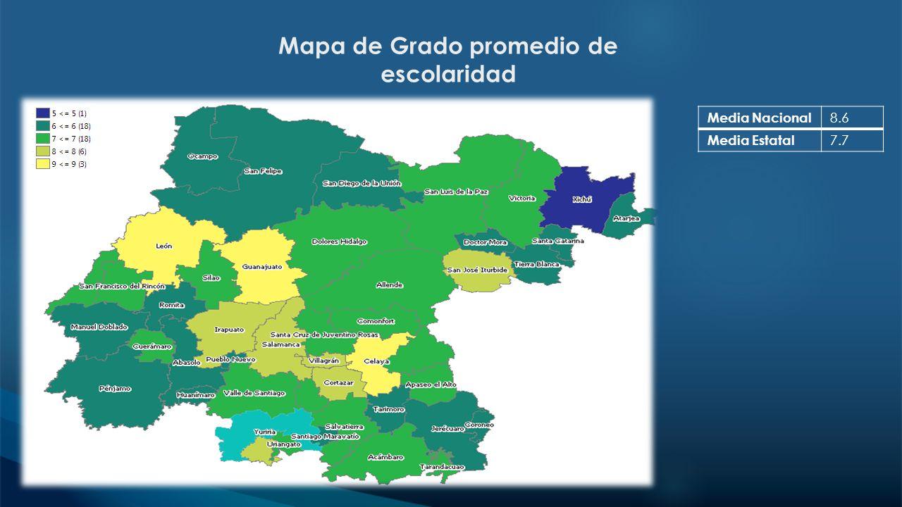 Mapa de Grado promedio de escolaridad Media Nacional 8.6 Media Estatal 7.7