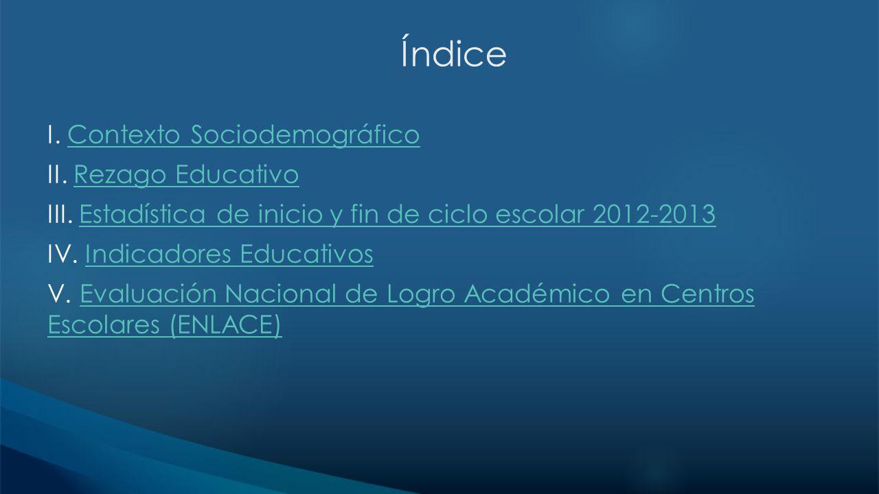 Índice I. Contexto SociodemográficoContexto Sociodemográfico II. Rezago EducativoRezago Educativo III. Estadística de inicio y fin de ciclo escolar 20