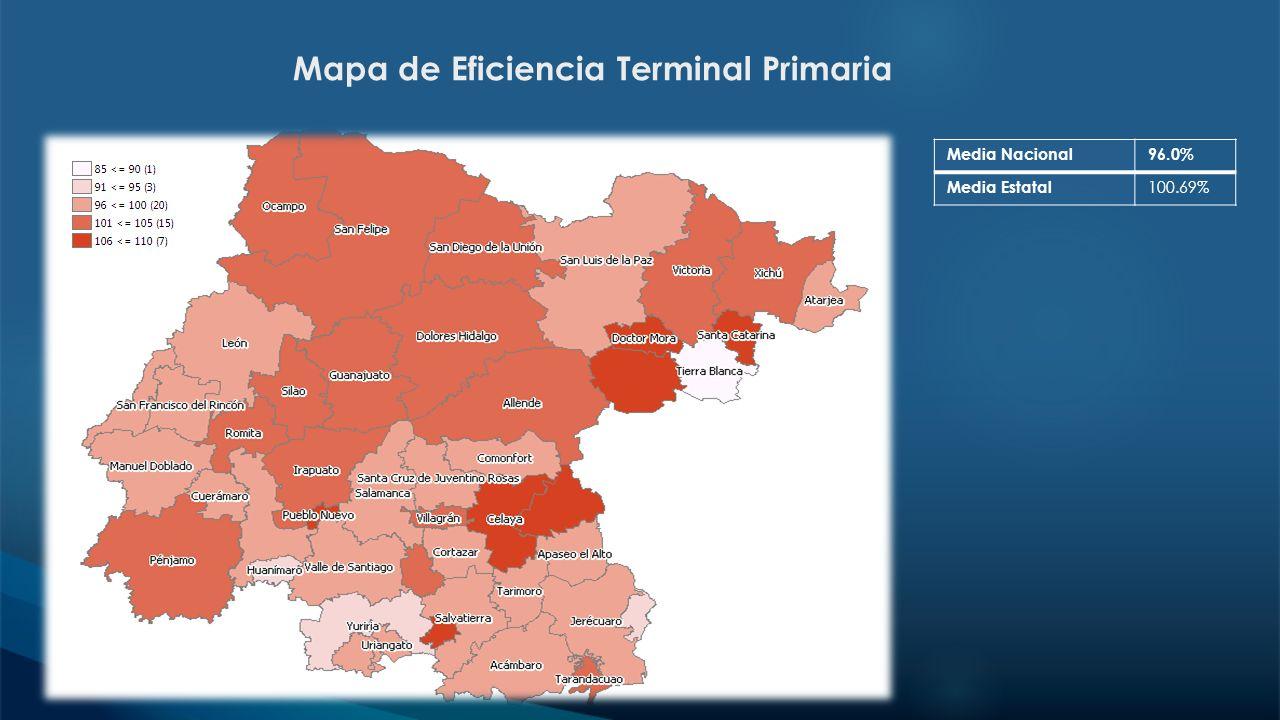 Mapa de Eficiencia Terminal Primaria Media Nacional96.0% Media Estatal 100.69%
