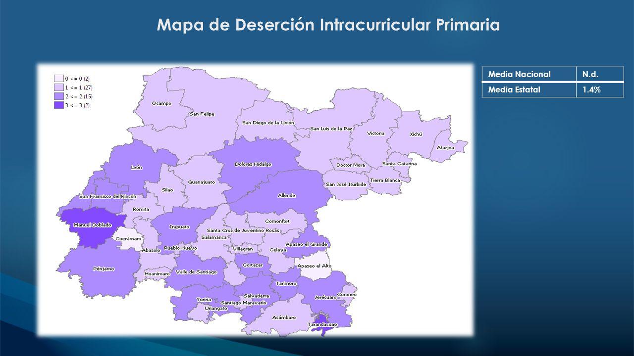 Mapa de Deserción Intracurricular Primaria Media NacionalN.d. Media Estatal1.4%