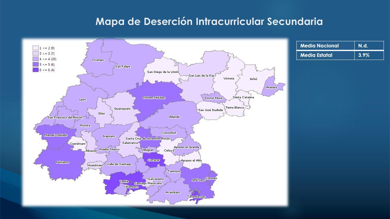 Mapa de Deserción Intracurricular Secundaria Media NacionalN.d. Media Estatal3.9%
