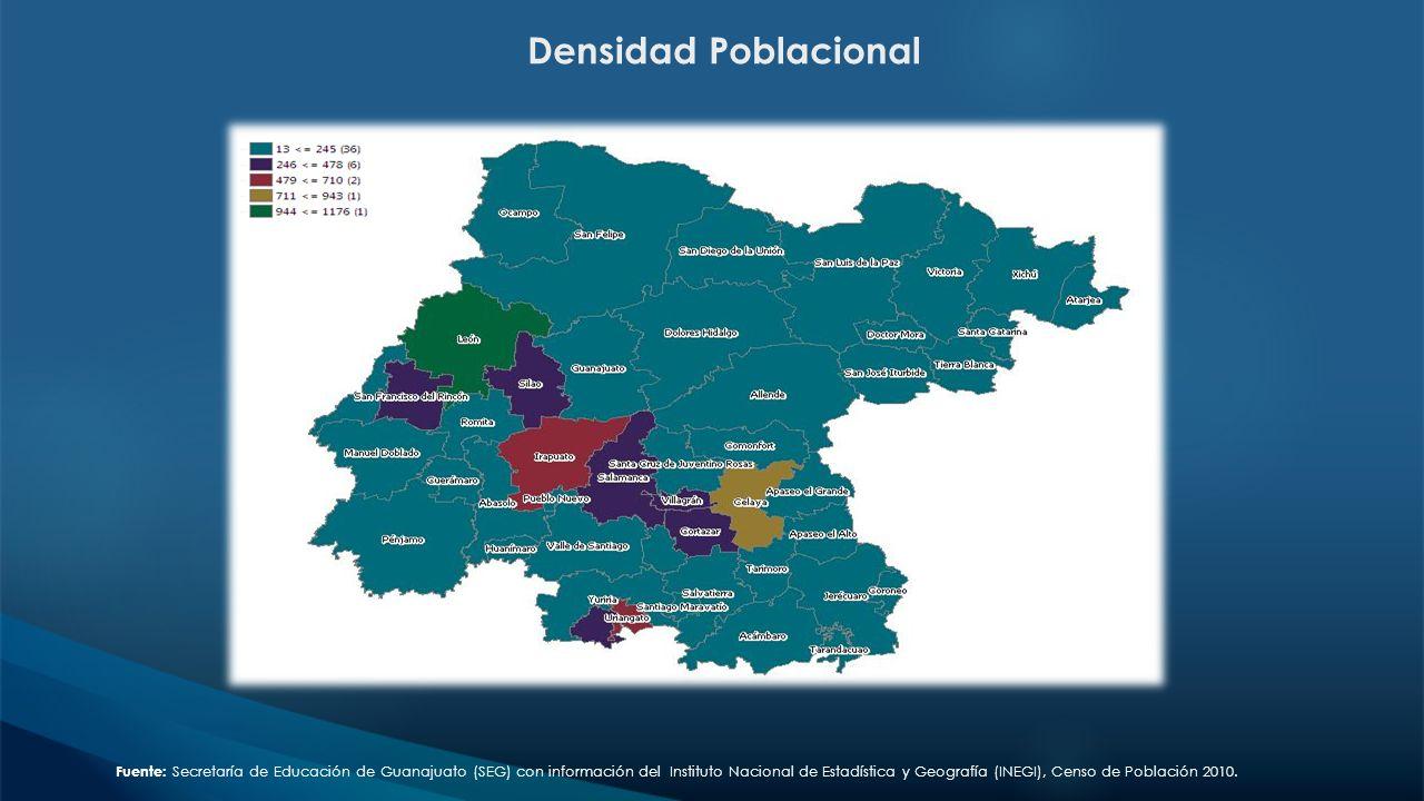 Densidad Poblacional Fuente: Secretaría de Educación de Guanajuato (SEG) con información del Instituto Nacional de Estadística y Geografía (INEGI), Ce