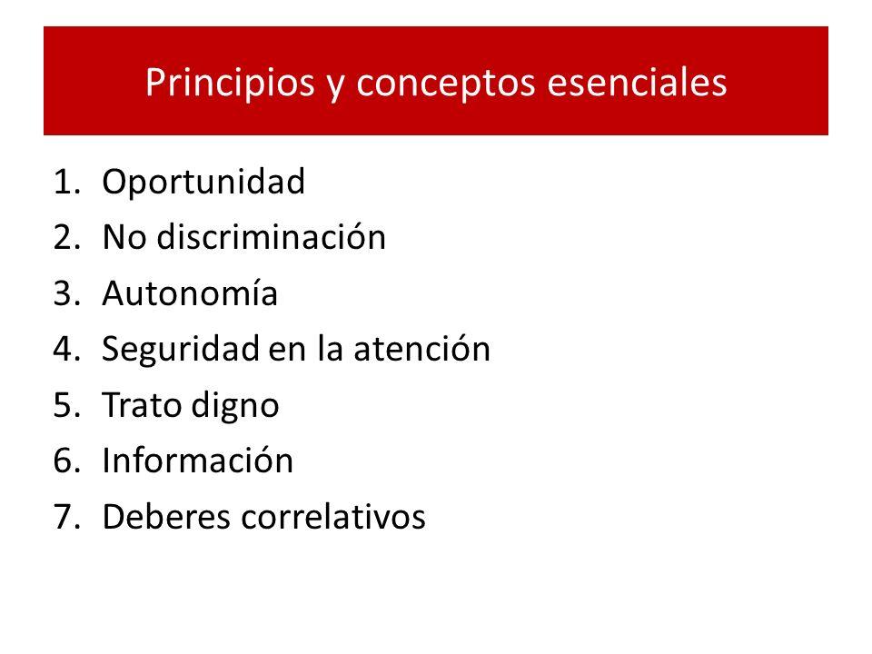 Principios y conceptos esenciales 1.Oportunidad 2.No discriminación 3.Autonomía 4.Seguridad en la atención 5.Trato digno 6.Información 7.Deberes corre