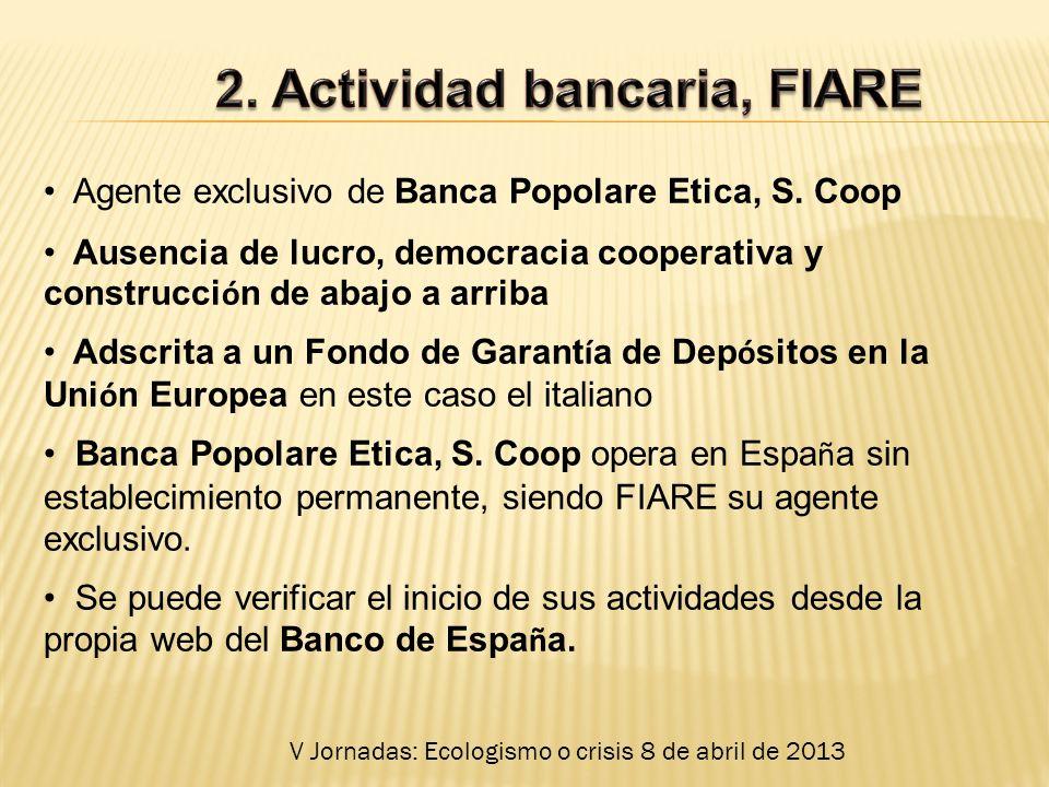 Agente exclusivo de Banca Popolare Etica, S.