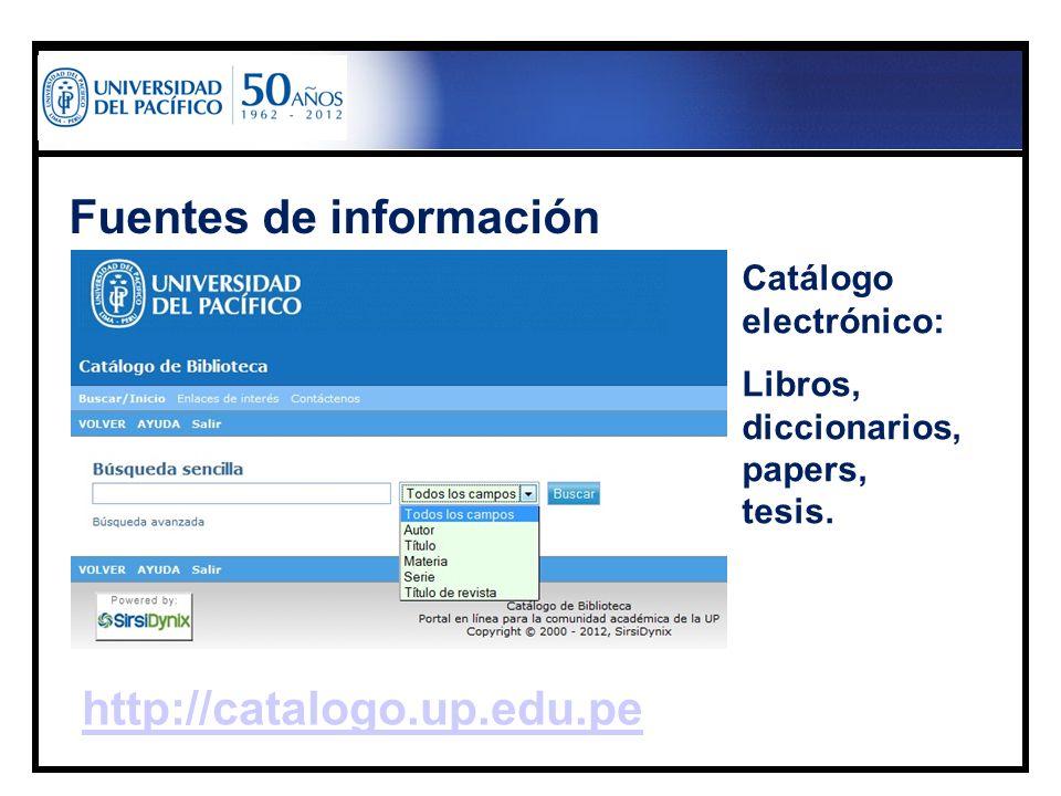 Fuentes de información Catálogo electrónico: Libros, diccionarios, papers, tesis. http://catalogo.up.edu.pe