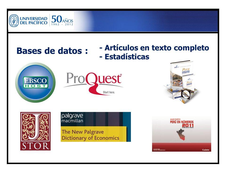 Bases de datos : - Artículos en texto completo - Estadísticas