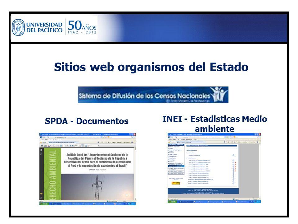 Sitios web organismos del Estado SPDA - Documentos INEI - Estadisticas Medio ambiente