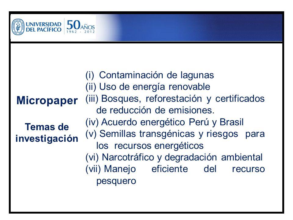 Micropaper Temas de investigación (i) Contaminación de lagunas (ii) Uso de energía renovable (iii) Bosques, reforestación y certificados de reducción