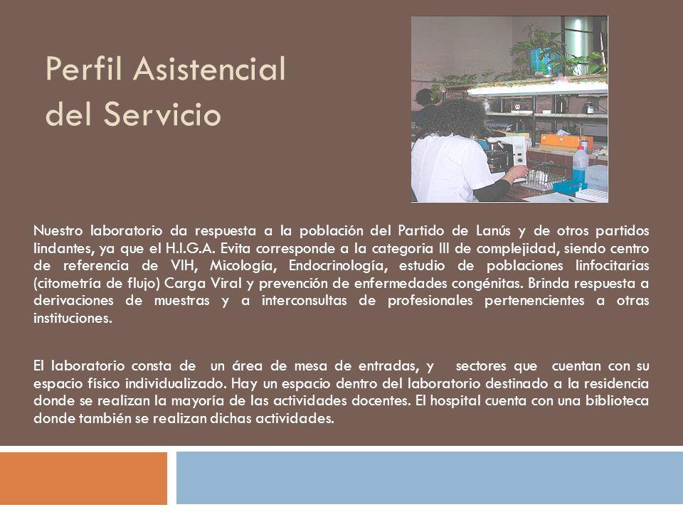 Perfil Asistencial del Servicio Nuestro laboratorio da respuesta a la población del Partido de Lanús y de otros partidos lindantes, ya que el H.I.G.A.