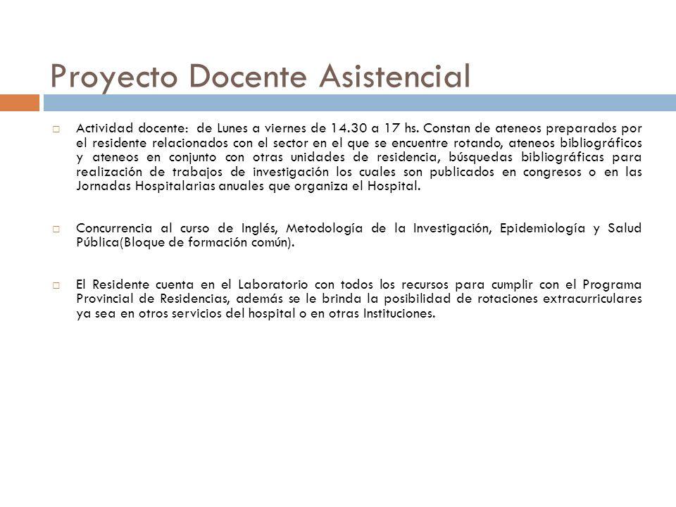 Proyecto Docente Asistencial Actividad docente: de Lunes a viernes de 14.30 a 17 hs.