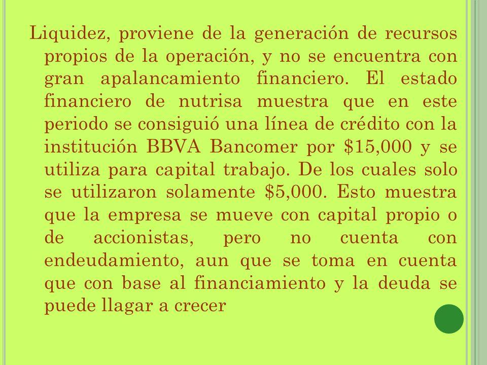 Liquidez, proviene de la generación de recursos propios de la operación, y no se encuentra con gran apalancamiento financiero. El estado financiero de