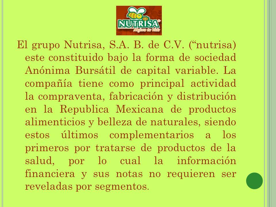 El grupo Nutrisa, S.A. B. de C.V. (nutrisa) este constituido bajo la forma de sociedad Anónima Bursátil de capital variable. La compañía tiene como pr