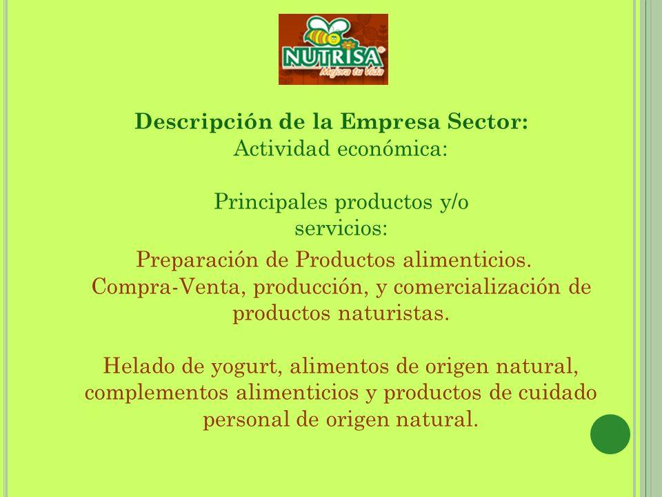 Descripción de la Empresa Sector: Actividad económica: Principales productos y/o servicios: Preparación de Productos alimenticios. Compra-Venta, produ