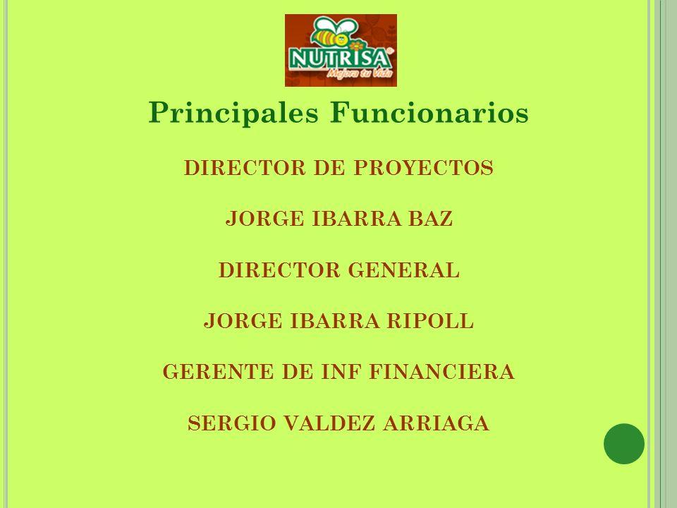 Principales Funcionarios DIRECTOR DE PROYECTOS JORGE IBARRA BAZ DIRECTOR GENERAL JORGE IBARRA RIPOLL GERENTE DE INF FINANCIERA SERGIO VALDEZ ARRIAGA