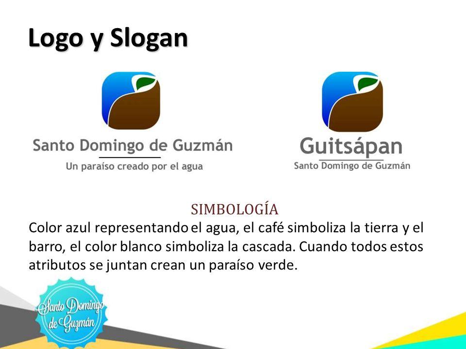Logo y Slogan Logo y Slogan SIMBOLOGÍA Color azul representando el agua, el café simboliza la tierra y el barro, el color blanco simboliza la cascada.