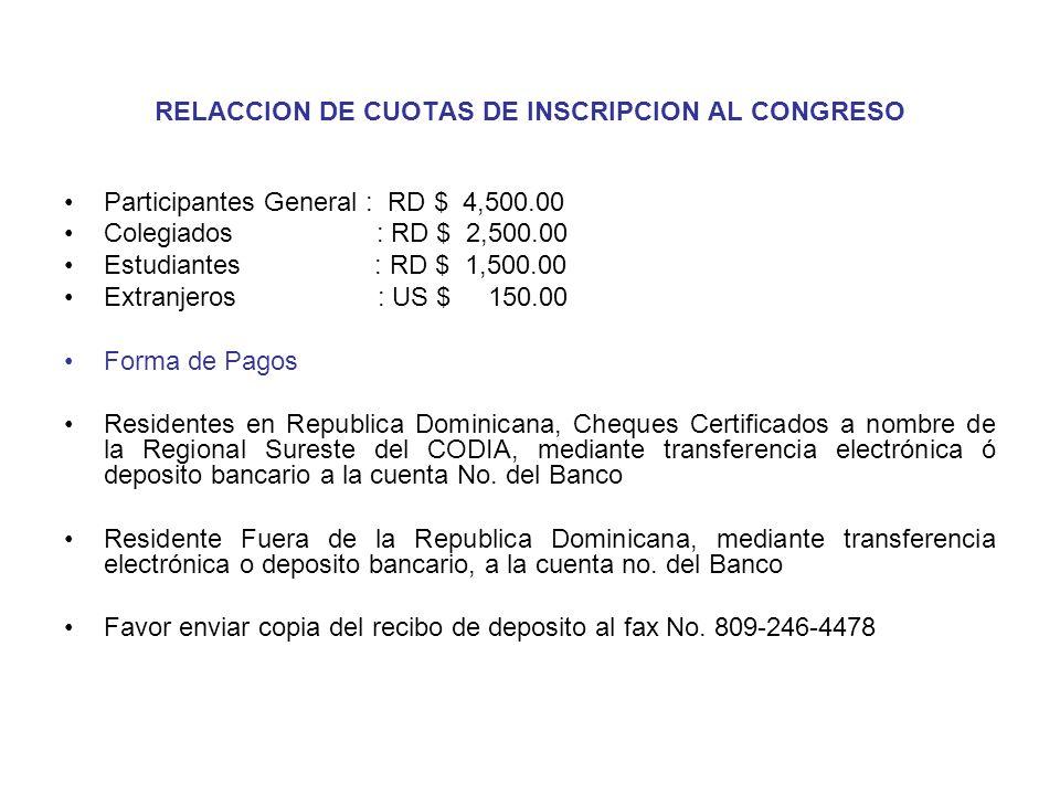 RELACCION DE CUOTAS DE INSCRIPCION AL CONGRESO Participantes General : RD $ 4,500.00 Colegiados : RD $ 2,500.00 Estudiantes : RD $ 1,500.00 Extranjero