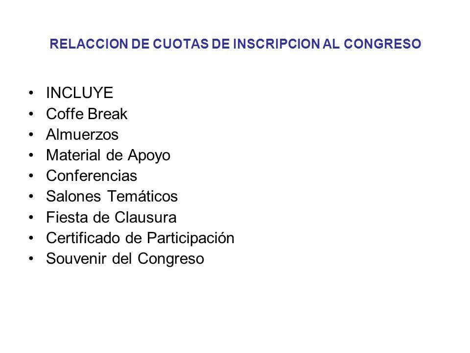 RELACCION DE CUOTAS DE INSCRIPCION AL CONGRESO INCLUYE Coffe Break Almuerzos Material de Apoyo Conferencias Salones Temáticos Fiesta de Clausura Certi
