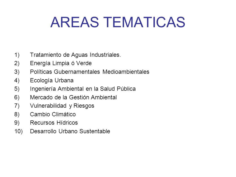 AREAS TEMATICAS 1)Tratamiento de Aguas Industriales. 2)Energía Limpia ó Verde 3)Políticas Gubernamentales Medioambientales 4)Ecología Urbana 5)Ingenie