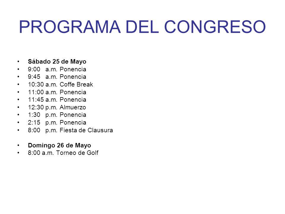 PROGRAMA DEL CONGRESO Sábado 25 de Mayo 9:00 a.m. Ponencia 9:45 a.m. Ponencia 10:30 a.m. Coffe Break 11:00 a.m. Ponencia 11:45 a.m. Ponencia 12:30 p.m