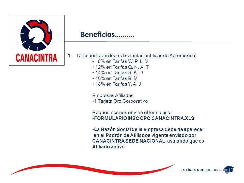 1.Descuentos en todas las tarifas publicas de Aeroméxico: 6% en Tarifas W, P, L, V 12% en Tarifas Q, N, X, T 14% en Tarifas S, K, D 16% en Tarifas B, M 18% en Tarifas Y, A, J Empresas Afiliadas: 1 Tarjeta Oro Corporativo Requerimos nos envíen el formulario: FORMULARIO INSC CPC CANACINTRA.XLS La Razón Social de la empresa debe de aparecer en el Padrón de Afiliados vigente enviado por CANACINTRA SEDE NACIONAL, avalando que es Afiliado activo