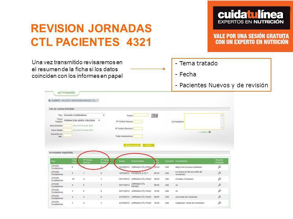 REVISION JORNADAS CTL PACIENTES 4321 Una vez transmitido revisaremos en el resumen de la ficha si los datos coinciden con los informes en papel - Tema