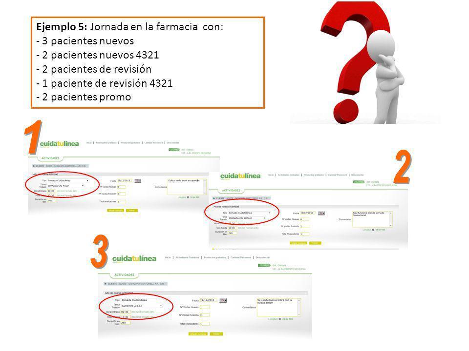 Ejemplo 5: Jornada en la farmacia con: - 3 pacientes nuevos - 2 pacientes nuevos 4321 - 2 pacientes de revisión - 1 paciente de revisión 4321 - 2 paci