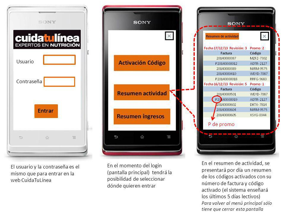 Usuario Contraseña El usuario y la contraseña es el mismo que para entrar en la web CuidaTuLínea En el momento del login (pantalla principal) tendrá l