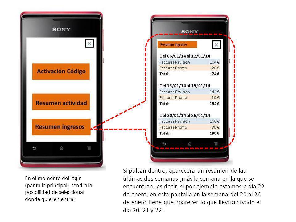 4 8 La pantalla de activación sólo presenta dos botones (para 4 euros, pacientes promo) y 8 para revisión Automáticamente al pulsar uno de los botones, crea un código que refleja en la pantalla (sólo se puede generar un código como mínimo cada 10 minutos) Distinta numeración de factura según el importe seleccionado Nº factura: 20140000001 Código acceso: XSYG-0344 Volver Activación códigos Para asegurar que el cierre de esta pantalla no debe ser accidental, al pulsar Volver, tienen la opción de confirmar la salida del código de activación Tanto el número de factura como el código de acceso serán transcritos manualmente por el dietista en el talonario