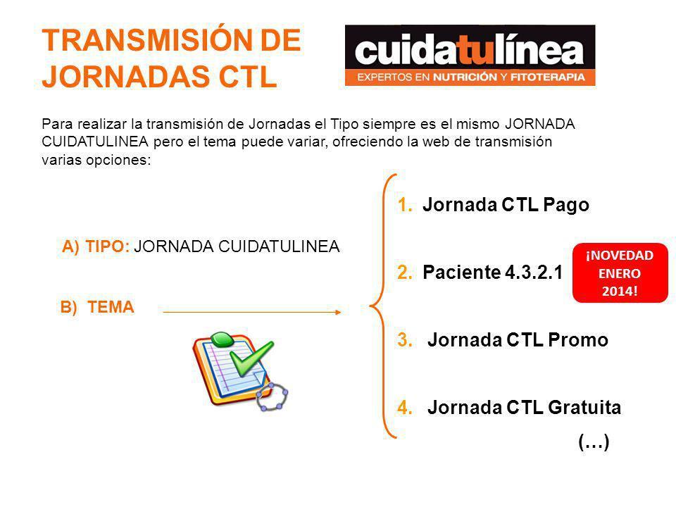 TRANSMISIÓN DE JORNADAS CTL 1.Jornada CTL Pago 2.Paciente 4.3.2.1 3. Jornada CTL Promo 4. Jornada CTL Gratuita (…) B) TEMA A) TIPO: JORNADA CUIDATULIN