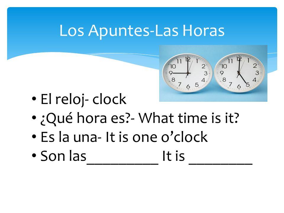 Los Apuntes-Las Horas El reloj- clock ¿Qué hora es?- What time is it.