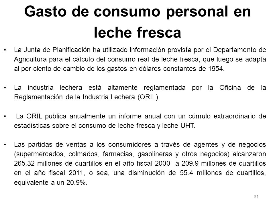 Gasto de consumo personal en leche fresca La Junta de Planificación ha utilizado información provista por el Departamento de Agricultura para el cálcu