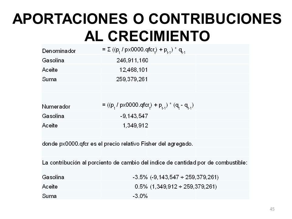APORTACIONES O CONTRIBUCIONES AL CRECIMIENTO 45
